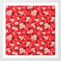 05 Ditsy floral pattern. Red background. White and pink flowers. by ann_and_pen