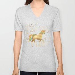 Gold Rainbow Dream Unicorn Unisex V-Neck