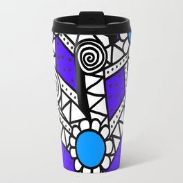 Doodle Art Flower - Pathways - Purple Blue Travel Mug