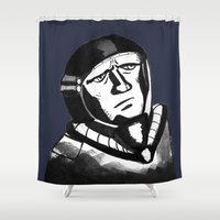 spaceman Shower Curtains featuring SpaceMan by Juicebox Farley