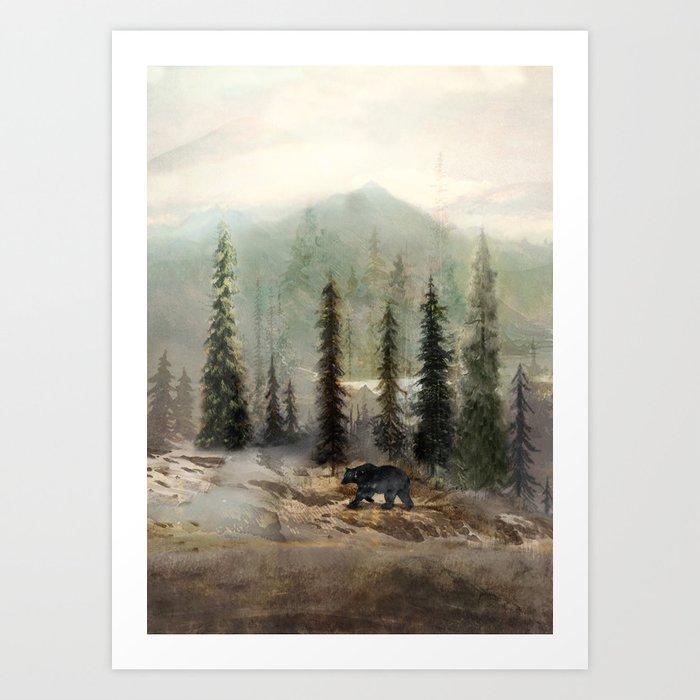 Mountain Black Bear Kunstdrucke