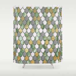 Oceanic Green Pink Gold Mermaid Scales FHLVLB SD Shower Curtain