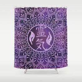 Reiki Symbols and healing hands on purple light Shower Curtain