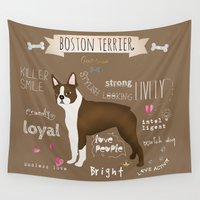 boston terrier Wall Tapestries featuring Boston Terrier by My Studio