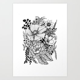 Mixed Floral Doodle in Black and White Art Print