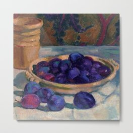 Still Life with Plums, Tuscany, Italy food and wine portrait painting by Apple Orchards and Red Foliage Vines of October landscape painting by Theo van Rysselberghe Metal Print