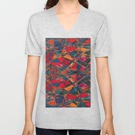 Exuberance- Vibrant Abstract Geometric  Unisex V-Neck