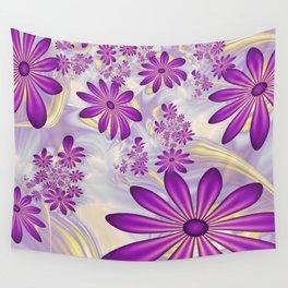 Fractal Art Dancing Purple Flowers Wall Tapestry