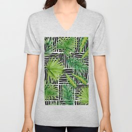 Tropical Leaves Watercolor on Black and White Pattern Unisex V-Neck