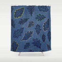 Leaves Picotage Large Scale Indigo Shower Curtain