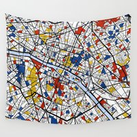 paris Wall Tapestries featuring Paris by Mondrian Maps