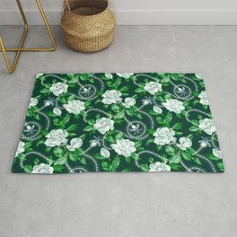 Midnight Sparkles - Gardenias and Fireflies in Emerald Green Rug