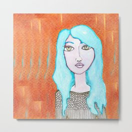 blue haired girl Metal Print