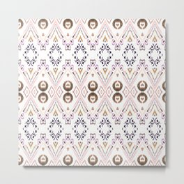 Ikat Java Rose Metal Print