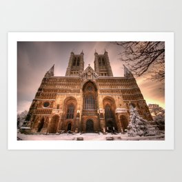 Lincoln Cathedral Snow Art Print