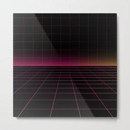 Darksynth Grid Lines Metal Print