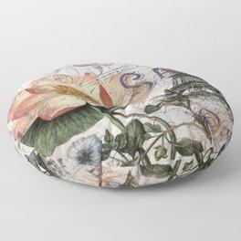 french scripts lotus floral vintage paris eiffel tower Floor Pillow