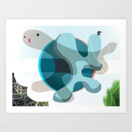 Turtle Kiss Art Print