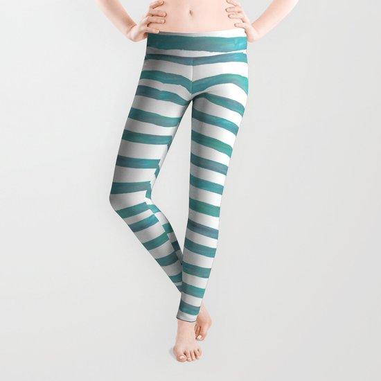 Ocean Green Hand-painted Stripes Leggings