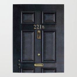 Haunted black door with 221b number Poster