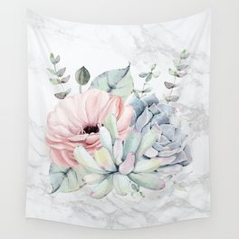 Pretty Succulents on Marble Watercolor by Nature Magick Wall Tapestry
