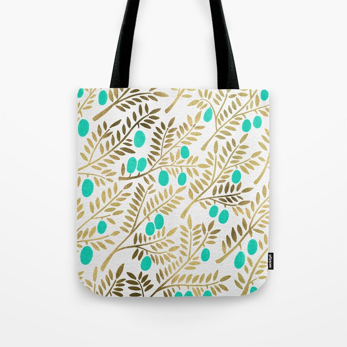 Gold & Turquoise Olive Branches Tote Bag
