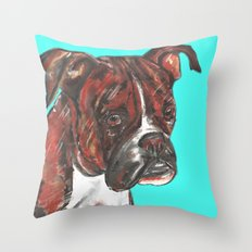 Boxer printed from an original painting by Jiri Bures Throw Pillow