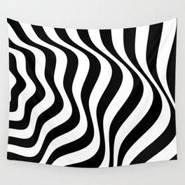 Op Art Waves B&W Wall Tapestry