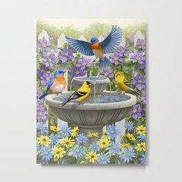 Bird Fountain Flower Garden Gathering Metal Print