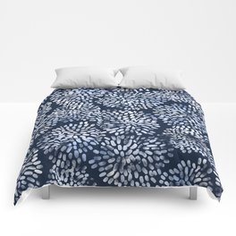 Abstract Navy Watercolor Line Flowers Comforters