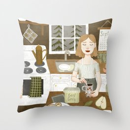 cabin stove Throw Pillow