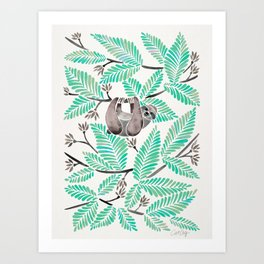 Happy Sloth – Tropical Mint Rainforest Art Print