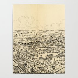 Vintage Pictorial Map of Longwood Florida (1885) Poster
