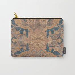 Persian Motif I // 17th Century Ornate Rose Gold Silver Royal Blue Yellow Flowery Accent Rug Pattern Carry-All Pouch