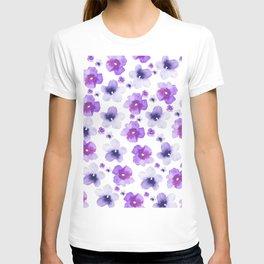 Modern purple lavender watercolor floral pattern T-shirt