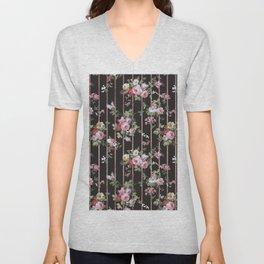Elegant faux rose gold black stripes vintage blush pink lavender floral Unisex V-Neck