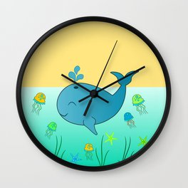 Happy baby whale Wall Clock
