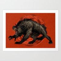 werewolf Art Prints featuring werewolf by panthervogel