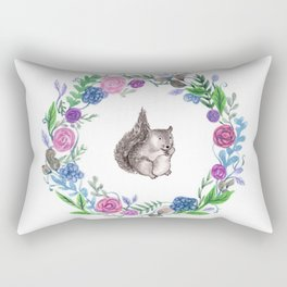 Squirrel and Wreath Watercolor Rectangular Pillow