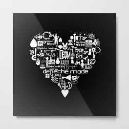 DM : Heart with DM's Logo - White Metal Print