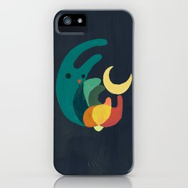 Rabbit and crescent moon iPhone Case