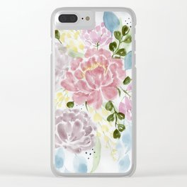Loose watercolor floral painting Clear iPhone Case