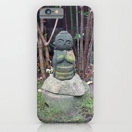 cute mossy jizo statue iPhone Case