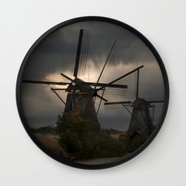 Dutch Windmills in Kinderdjik Wall Clock