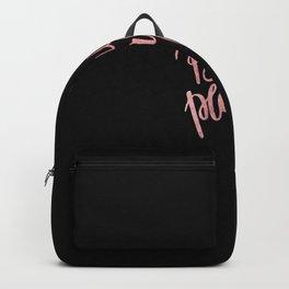 Elegant black faux rose pink modern typography Backpack