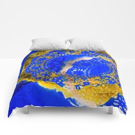 Royal Blue and Gold Abstract Lace Design Comforters