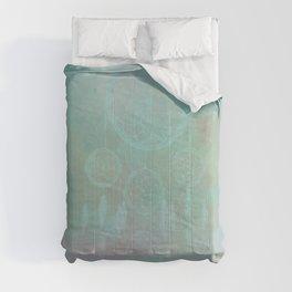 Abstract Aqua And Pink Rainbow Dreamcatcher Comforters