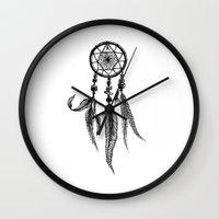 dreamcatcher Wall Clocks featuring dreamcatcher by Cari Clavijo