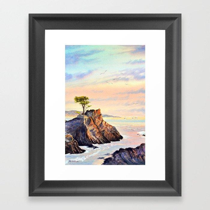 Pebble Beach Lone Cypress Tree Gerahmter Kunstdruck
