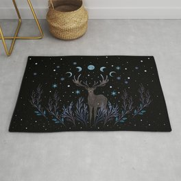Deer in Winter Night Forest Rug